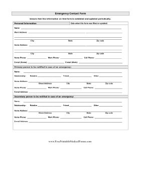 Detailed Emergency Contact Form Printable Medical Form, free to download and print