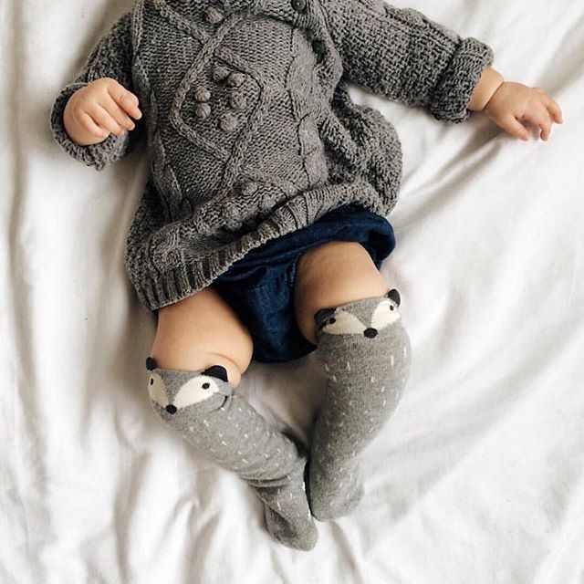 Knit sweater. Socks and chubby thighs don't hurt. #estella #baby #knits…