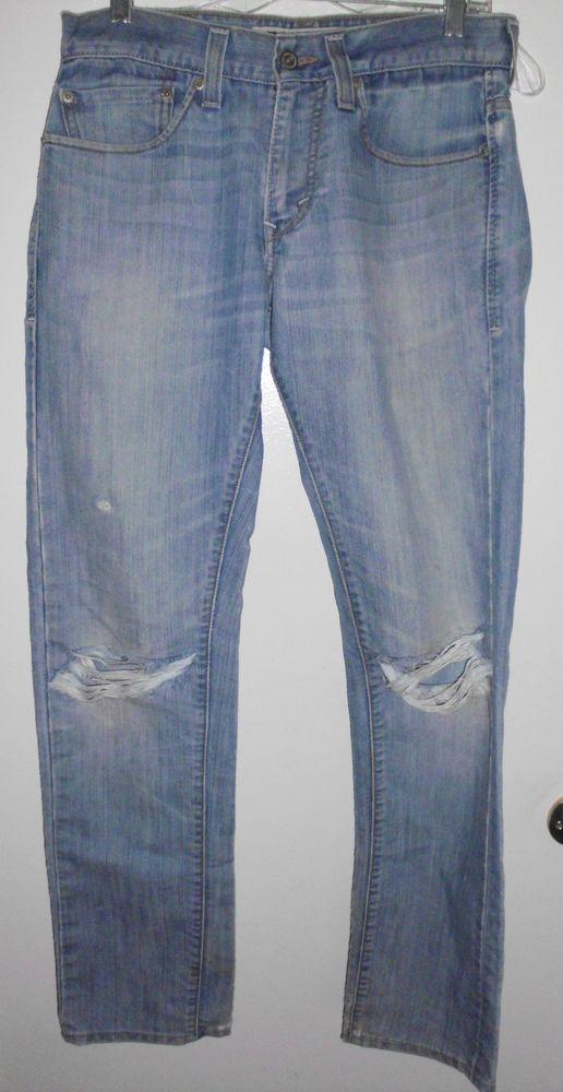 LEVI'S 511 Skinny Destroyed Light Wash Stretch Denim Jeans 32Lx31W Men's #Levis #Skinny