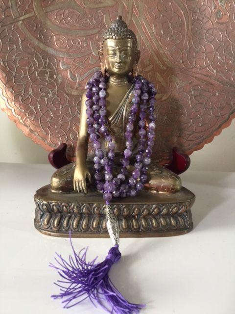 Sally McBride Design AMETHYST Mala 108 beads 7mm diameter faceted with silver guru bead and tassel