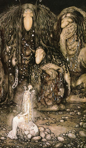 When I was little I both thought the picture was a bit creepy, considering the trolls, but yet so mysterious and beutiful. It really is like a fairytale.