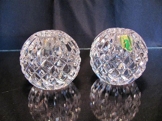 Waterford Round Candle Holders  / Waterford Crystal