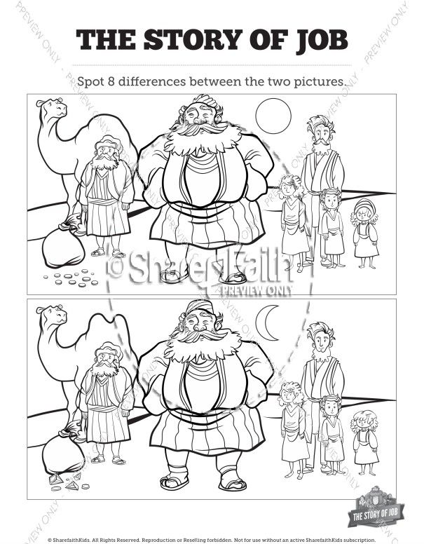 The Story Of Job Kids Spot The Difference Book Of Job Bible