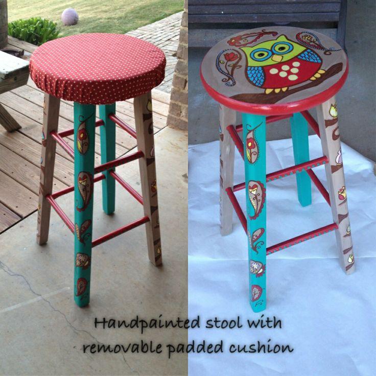 Custom painted teachers stool  www.luckieheart.com