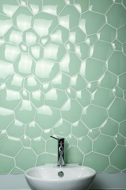 "Utterly gorgeous ""Watercube"" tiling from Everstone's 2009-2010 collection."