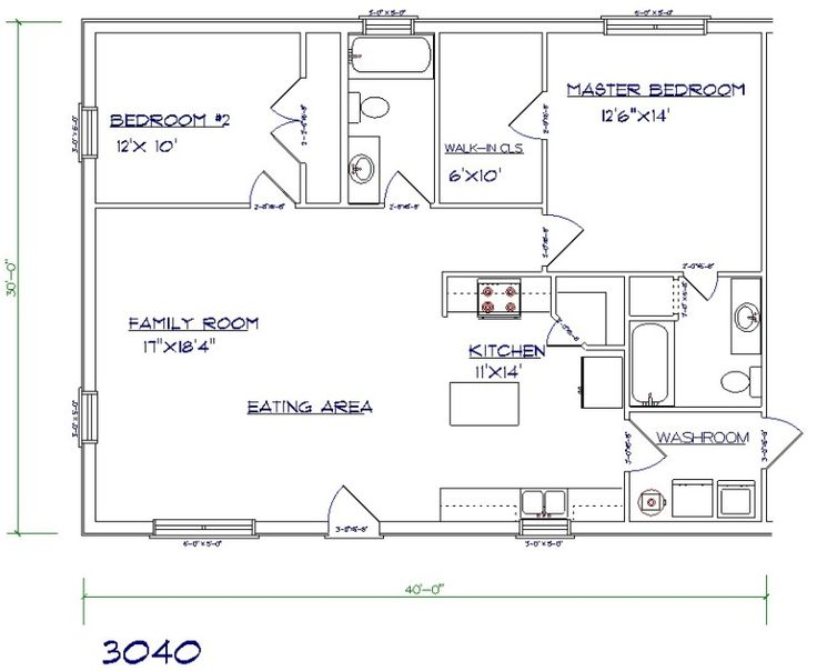 Barndominium floor plan 2 bedroom, 2 bathroom, 30x40