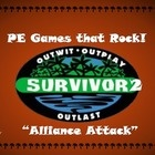 """This lesson plan and diagram is for a large group physical education class game called """"Survivor 2; Alliance Attack"""". It is a fast paced, high energy and extremely fun game for students of all ages. Students work in duos to attempt to knock down other player's pins while trying to protect their own. If their pins get knocked down, they must enter the """"Tribal Council"""" ."""