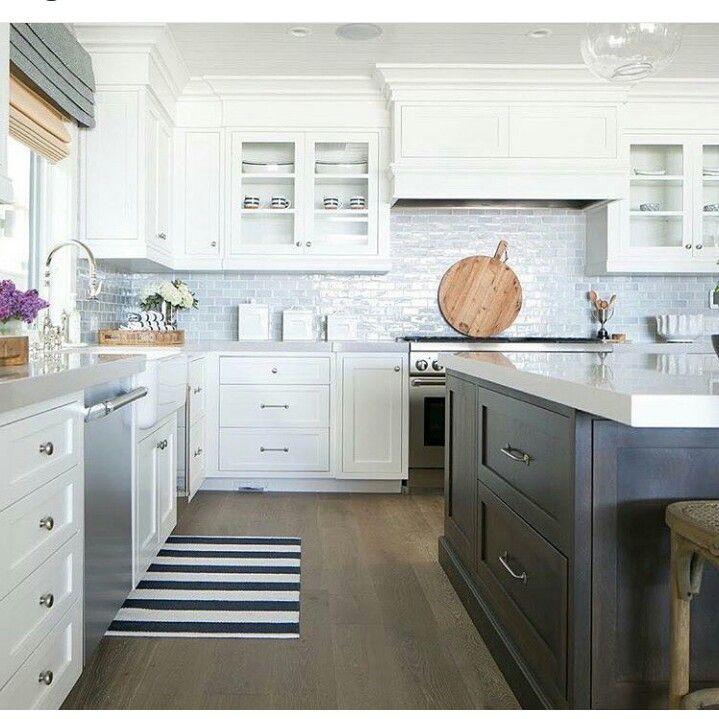 White kitchen with gray mini brick backsplash tiles contemporary kitchen