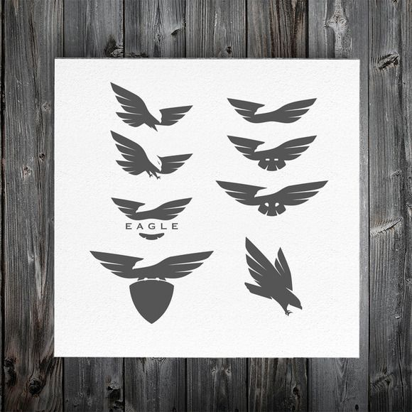 Negative space eagle logos by 1baranov on Creative Market