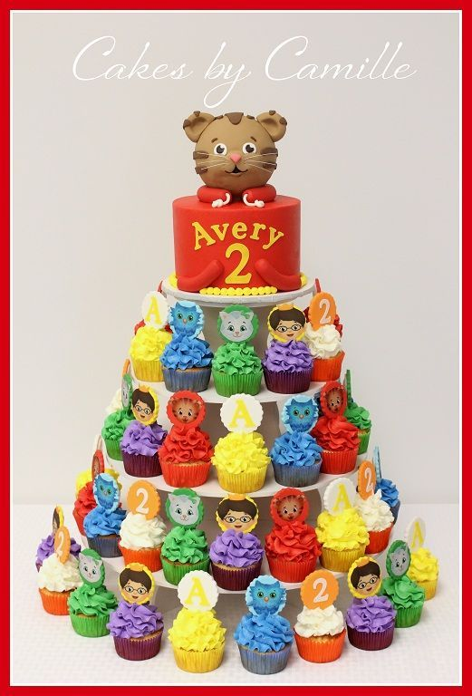 Possible Daniel Tiger Cake but I'd make the cupcake faces out of fondant..love that it already says Avery ;)