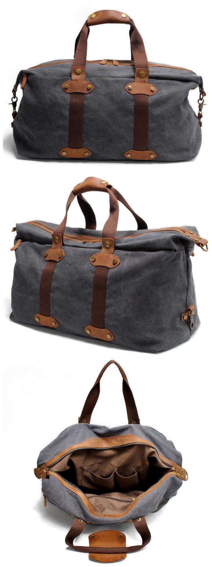 Waxed Canvas Leather Duffle Bag Overnight Bag Weekender Bag