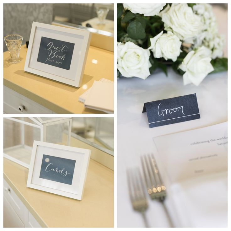 Framed signs and place cards