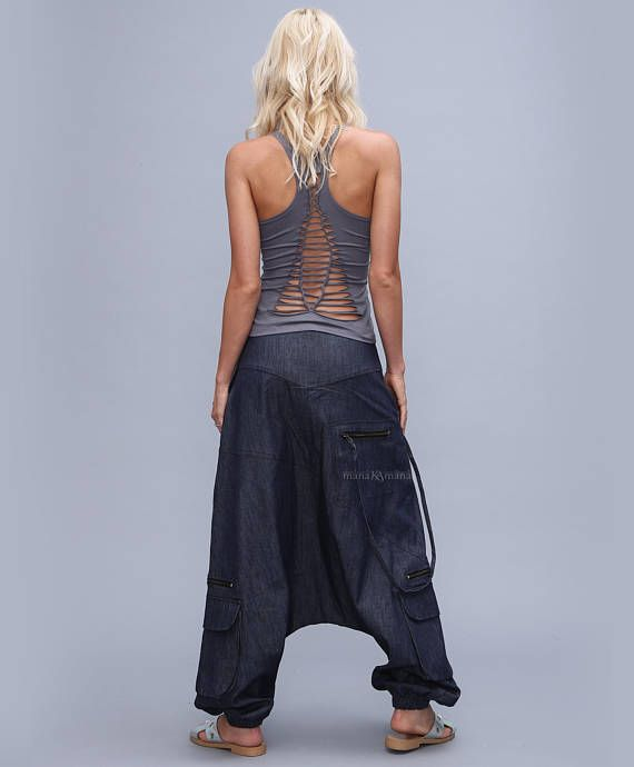Grey Jeans Harem Pants, Drop Crotch Hosen-Denim Boho Afghani Pants, Alibaba Pants – basmati