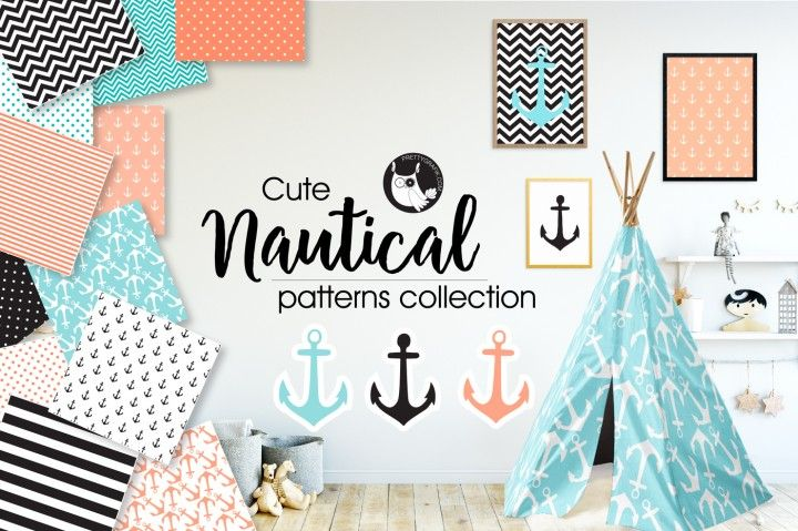 The FREE Nautical Patterns Collection By TheHungryJPEG