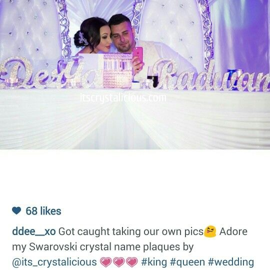 How beautiful does the Bride and Groom look  and how amazing does the Crystalicious® name plaque look  I custom made this freestanding plaque for @ddee__xo as she wanted metallic gold paint with Crystal Clear SWAROVSKI® ELEMENTS to make it truly stand out   #brideandgroom #amazing #bling #bridetobe #bedazzled #crystals #crystalicious #custom #couture #diamonds #designer #beautiful #glam #gold #handmade #ido #keepsake #love #lovemyjob #lovemycustomers #mrandmrs #musthave #bridaltable…