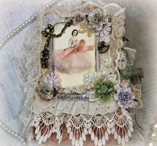 VINTAGE FABRIC Album SCRAPBOOK PREMADE COLLAGE BOOK LACE KHATSART