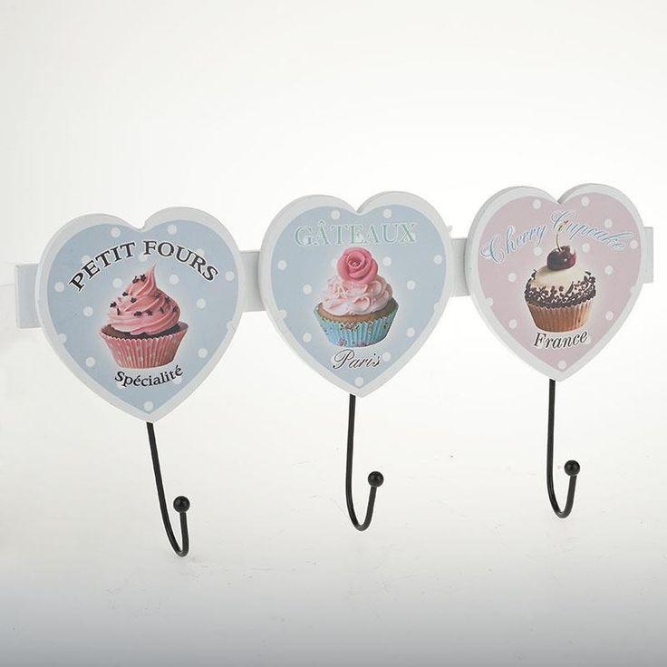 Ξύλινη κρεμάστρα 3 θέσεων cup cake. Δημιουργείστε μια ρομαντική πινελιά στο σπίτι σας