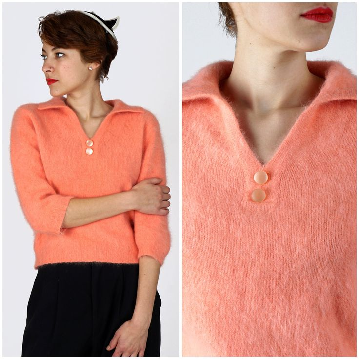 Vintage 50s/60s Coral Super Soft Angora Pullover Sweater by Smartwear Fashion | Small by AnimalHeadVintage on Etsy