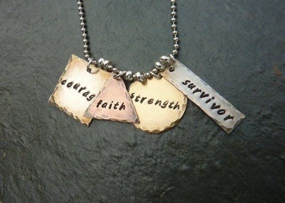 Survivor Necklace  Courage Faith Strength by HandsandFeetJewelry, $22.00
