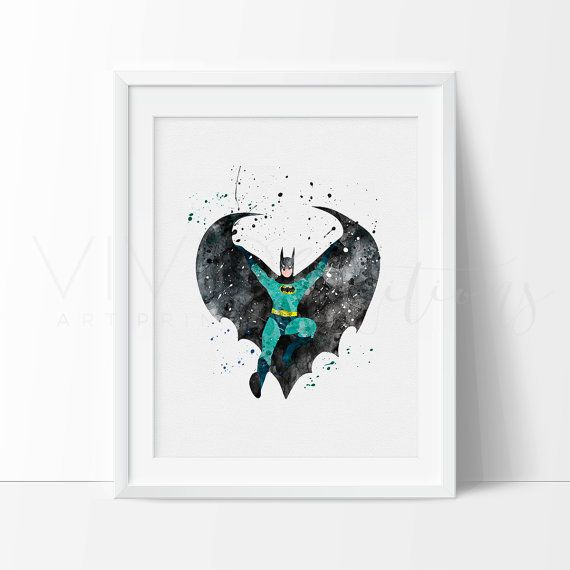 Batman Print Baby Boy Superhero Nursery Art Print by VIVIDEDITIONS