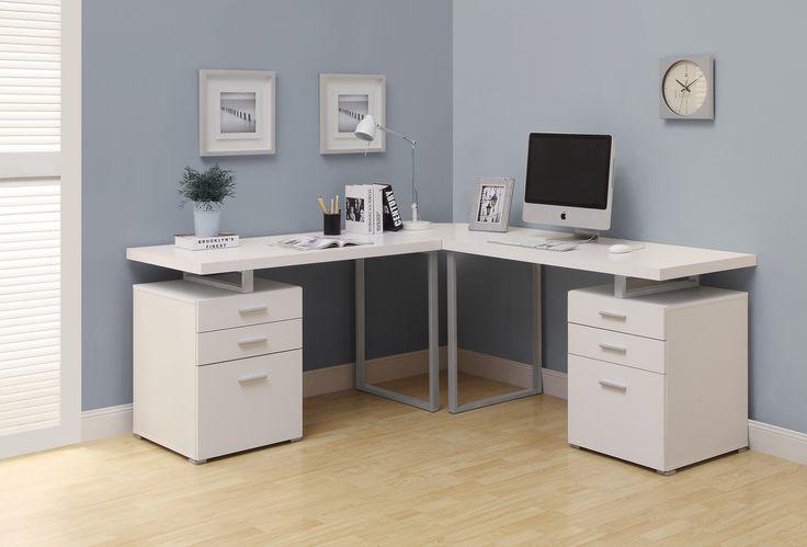 Computer Desk - White L Shaped Corner Desk - Harvey & Haley