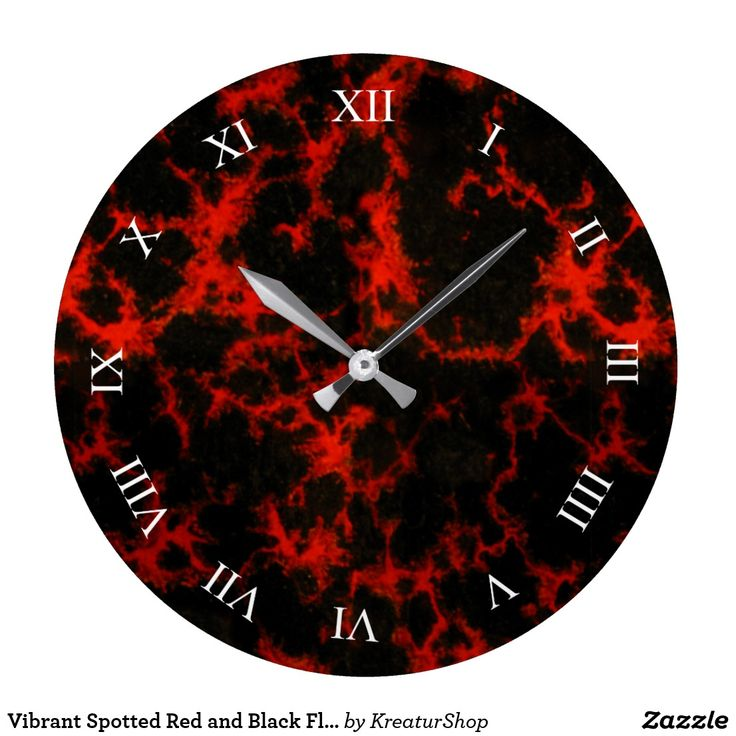 Vibrant Spotted Red and Black Flames Roman Digits