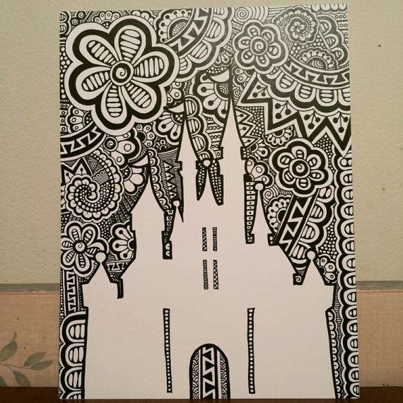 Castle Silhouette Zentangle Print