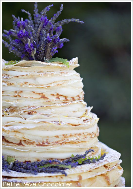 Over 300 layers of  light golden brown crepes filled with lavender & Madagascar vanilla bean infused cream and dusted with powered sugar ~ Frech Crepe Cake created by Kate Dunbar, owner of Petite Rêve Chocolates in Ventura, CA / Photography: Lavendar & Twine