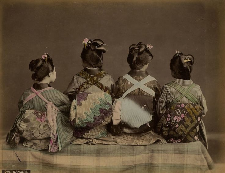 This 1868 portrait shows off the obi — the sash portion of a kimono — which ties at back and can be styled in many different elaborate fashions.