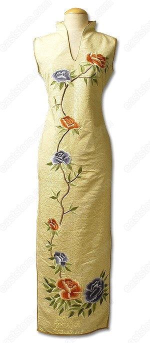 Stand style V-neck collar.  Invisible back zipper.  Sleeveless.  2 side slits.  Fully lined.  Peony embroidered.  Ankle length.    Fabric: Silk.