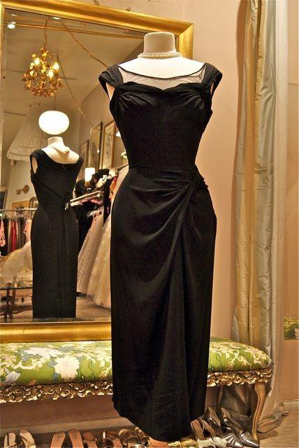 Vintage 50s 1950s couture designer CEIL CHAPMAN black bombshell wiggle cocktail dress The ultimate little black dres. $348.00, via Etsy.