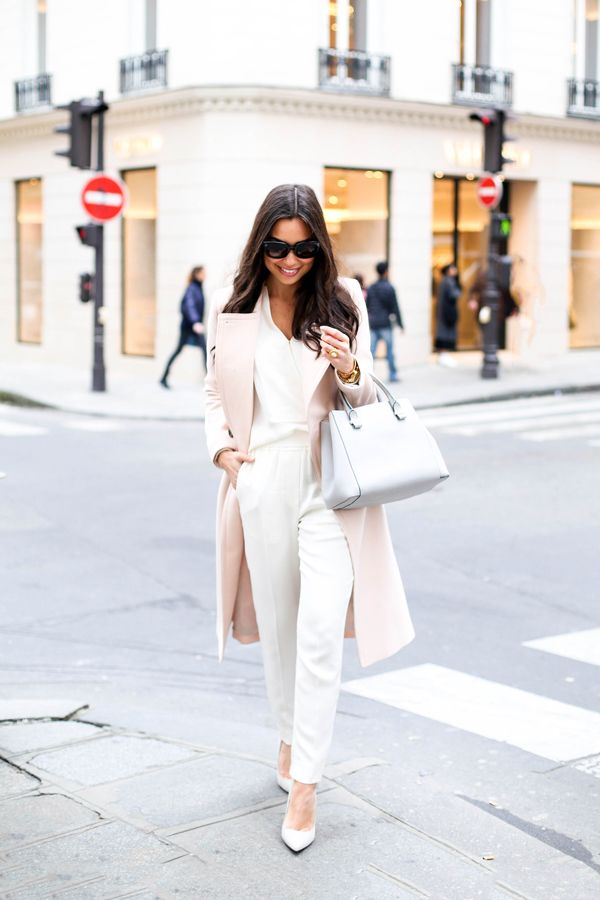 Blush pink Club Monaco coat, Theory silk blouse, 3.1 Phillip Lim cream trousers and SJP grey pumps in Paris. http://FashionCognoscente.blogspot.com