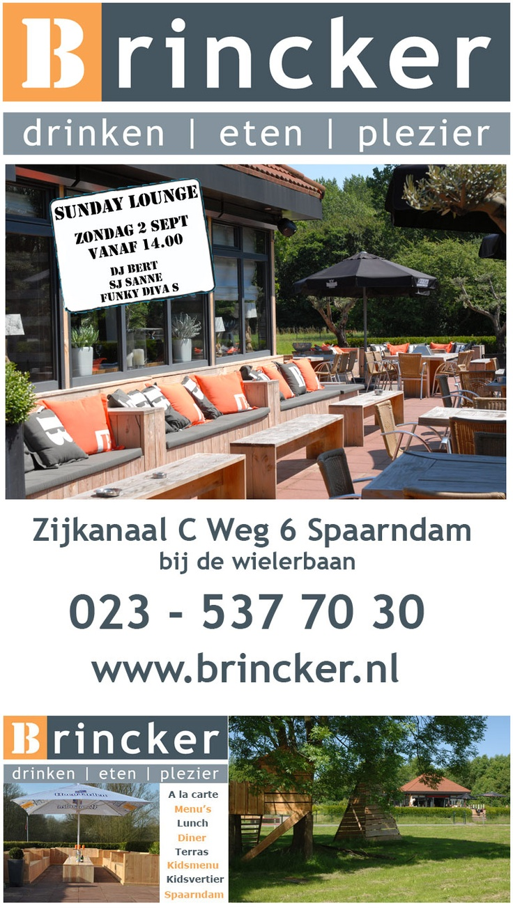 Sunday-lounge #Brincker, Zondag 2 september, vanaf 14:00, DJ Bert, SJ Sanne, Funky DivaS, #Spaarndam