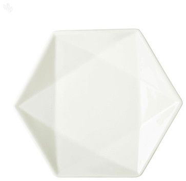 White Glazed Ceramic Hexagonal Platter modern serveware