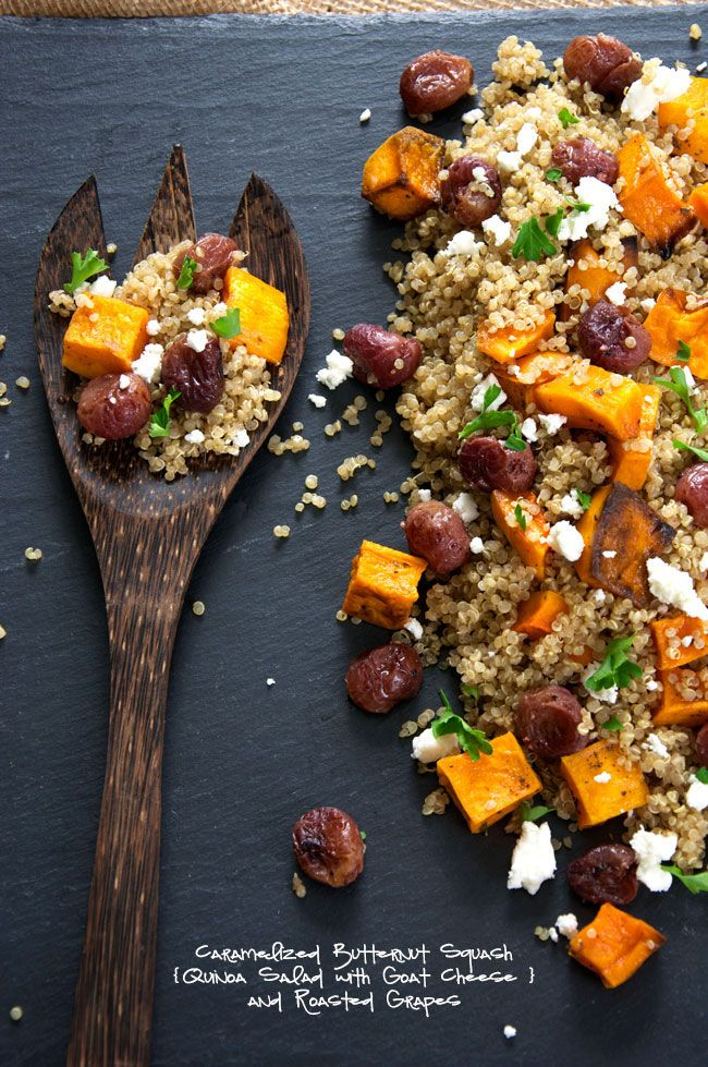A delicious and flavorful quinoa salad made of caramelized butternut squash, creamy goat cheese, roasted grapes and basil! Make ahead and store in the fridge until ready to serve! #glutenfree #salad