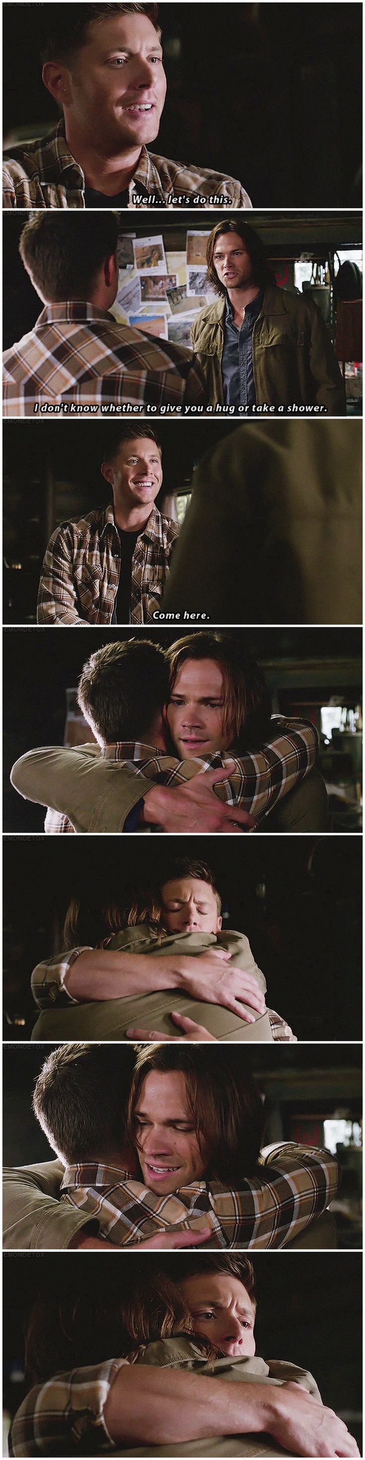 "[gifset] 8x01 We Need To Talk About Kevin. Omigosh, ""Come here."" Dean's smile!! :')"