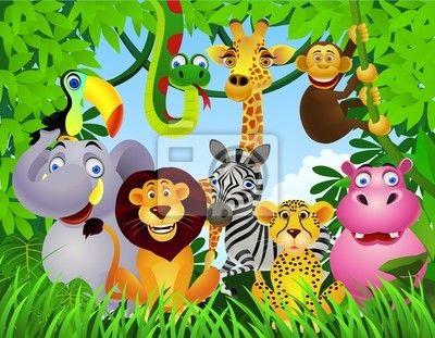Animales De La Selva Africana animados | Vinilo para Paredes animales de dibujos animados - selva • PIXERS.es