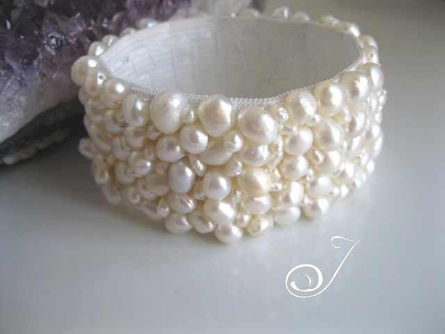 White Pearl Stretch Cuff – Pearl Jewellery
