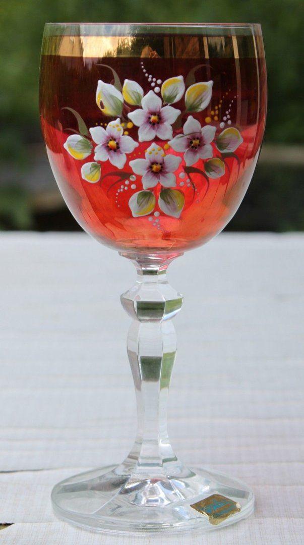 Weinglas Emaillmalerei