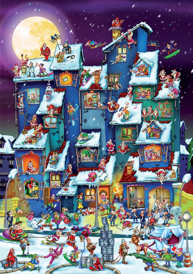 Christmas Antics 1000 piece Cartoon Puzzle by D-Toys (from Romania).  Now are those Santa's working or goofing off?  Looks like a fun Christmas!