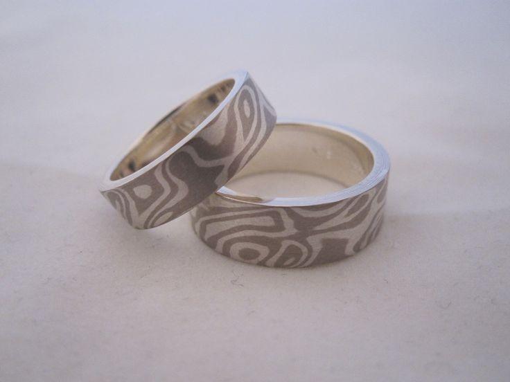 "Mokume Gane wedding rings meaning "" wood metal "" in japanese . A samurai sword technique . custom made jewellery by seventysixdesign"