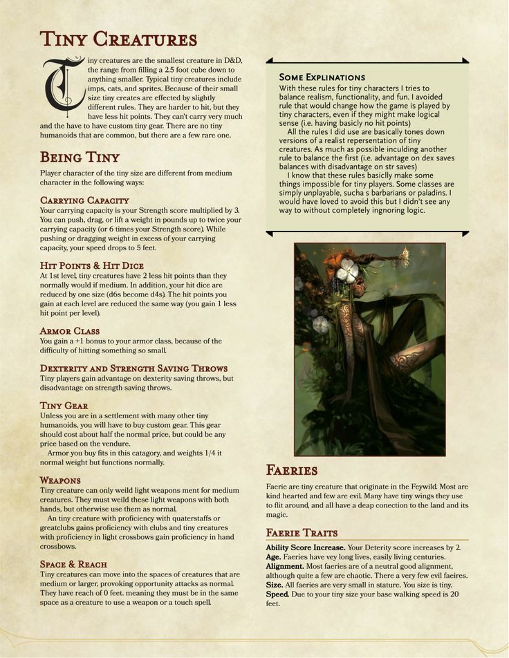 DnD 5e Homebrew — Tiny Creature Races by Valyr_Knight