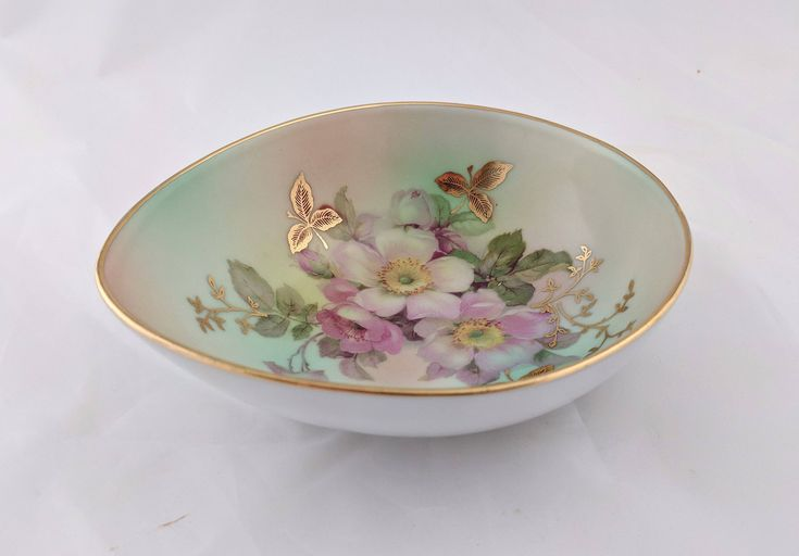 1950s Schumann Arzberg Germany egg shaped porcelain 'Wild Rose' small serving bowl by tlgvintageart on Etsy