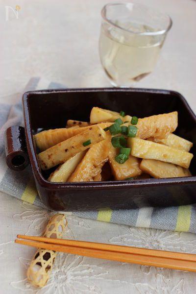 タケノコの水煮を使った、時短料理です。味噌にゆず胡椒を加えた和風炒めです。