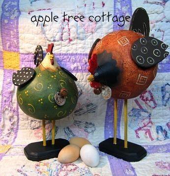 Coq et la poule Gourde pRIm par appletreecottage sur Etsy
