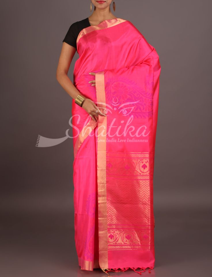 Rambha Blossoming Pink With Lace Border Ornate Pallu Pure Mulberry Silk Saree