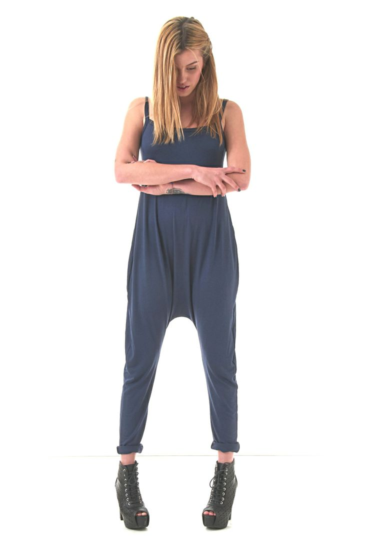 Atlantis Navy Blue Jersey Jumpsuit W/ Dropped Crotch