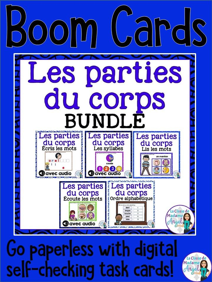Les parties du corps.  Practice the vocabulary for parts of the body in French with this fun set of digital task cards hosted on Boom Learning!