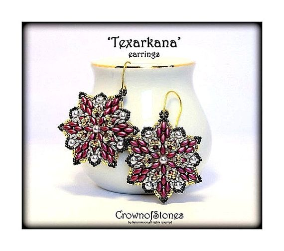 PDF PATTERN 'Texarkana' earrings with O beads and Superduo