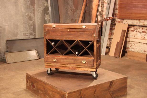 After: Industrial Bar Cart Once old and out of date, this antique tool chest has been reimagined into a rolling bar cart.